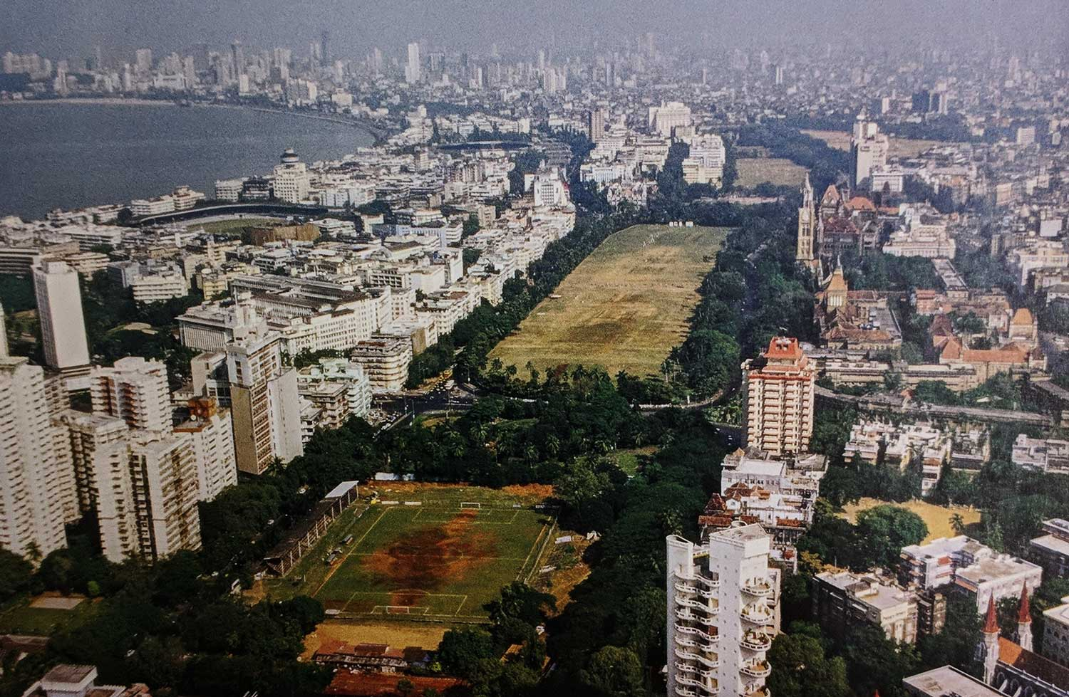 View of Oval Maidan with 19th Century Victorian Buildings (right) and 20th Century Art Deco Buildings (left) on either side © Book: Above Bombay, Jehangir Sorabjee