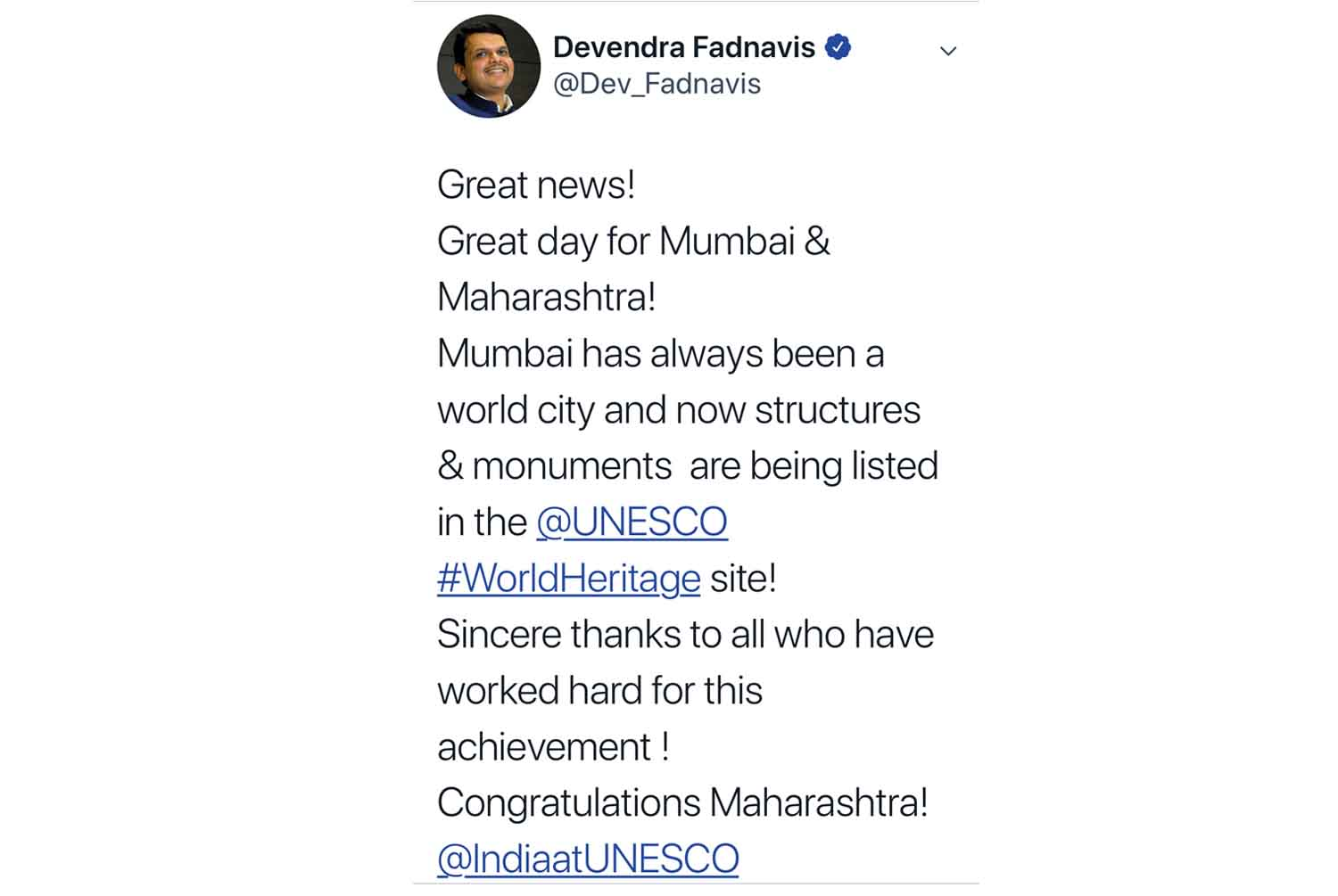 Chief Minister Tweet's about the inscription