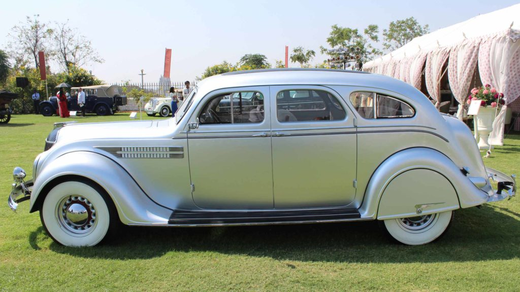 Side view of the streamlined car Chrysler Airflow 1936; Photo Credit: Karl Bhote