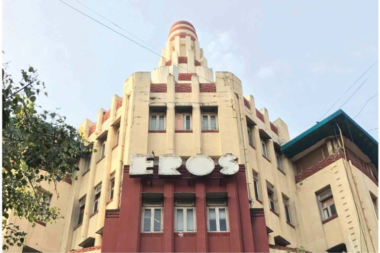 View of the architectural lettering of Eros Cinema, Churchgate