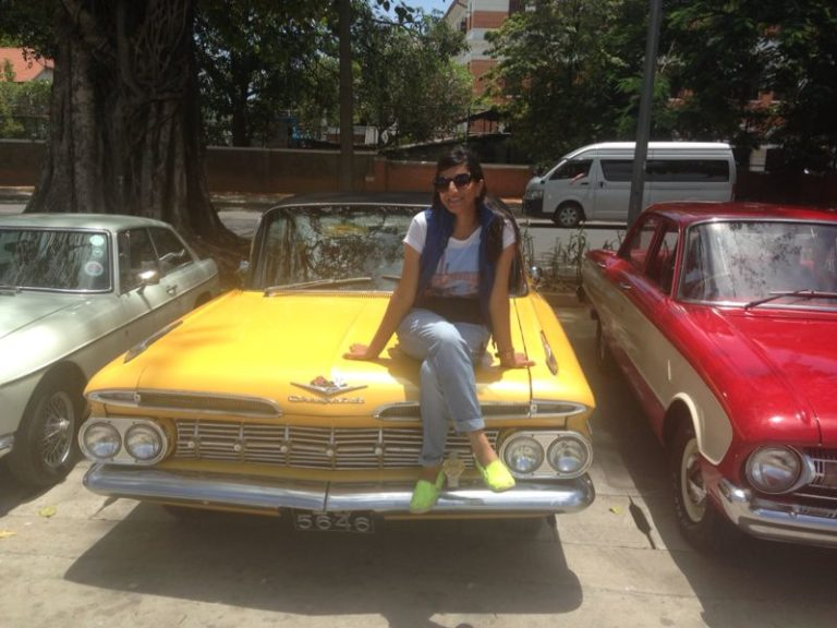 Dhara amongst a bevy of period vintage cars in  Sri Lanka. The film used a mind boggling 200 vintage cars in the film. Photo courtesy: Dhara Jain