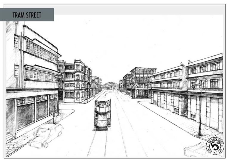 A layout for a street, with buildings and tram lines prepared by the Design Team.  Photo Courtesy: Sonal Sawant