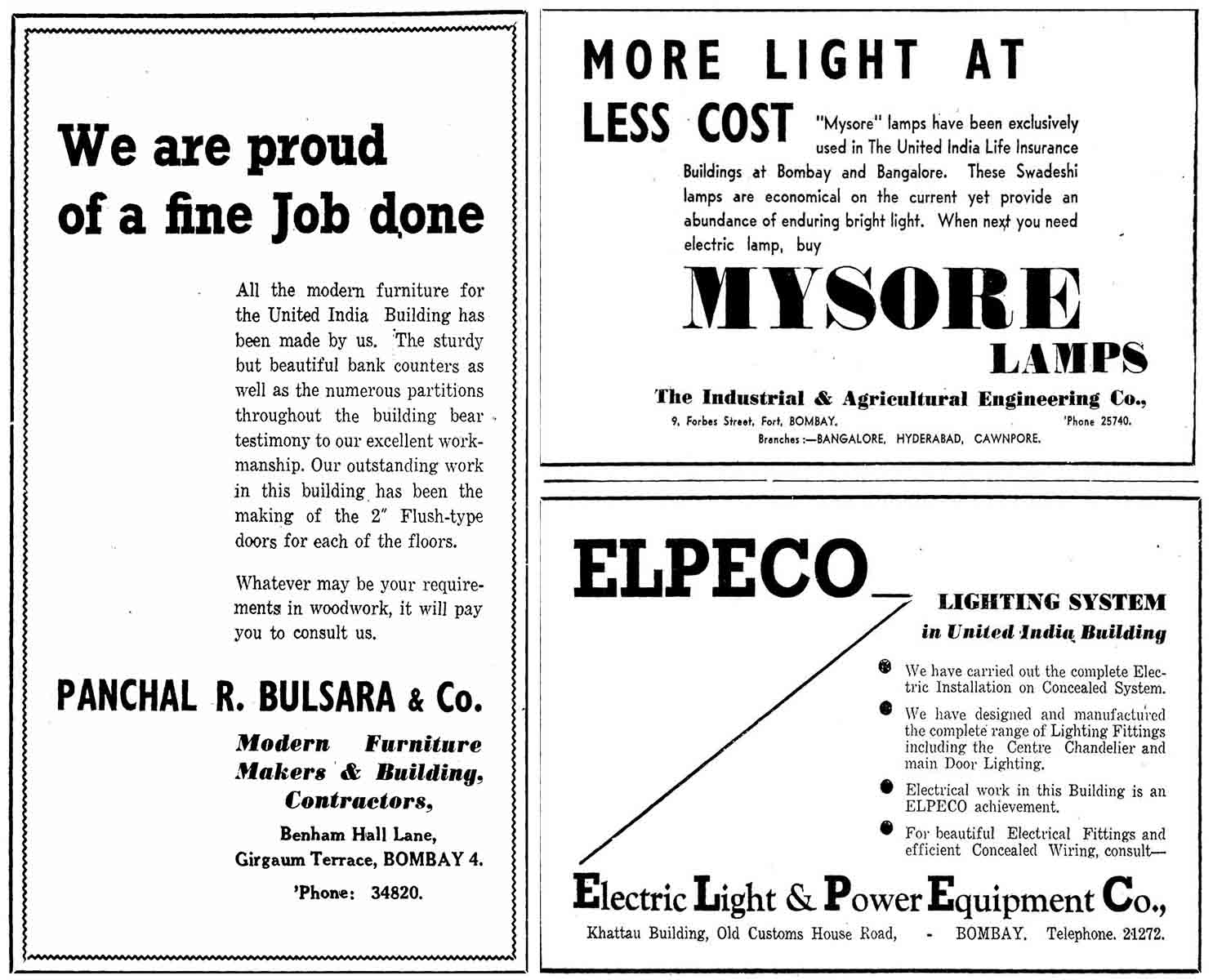 Advertisements for local suppliers of furniture and lighting used in the United India building. Source: Times of India. March 27, 1939