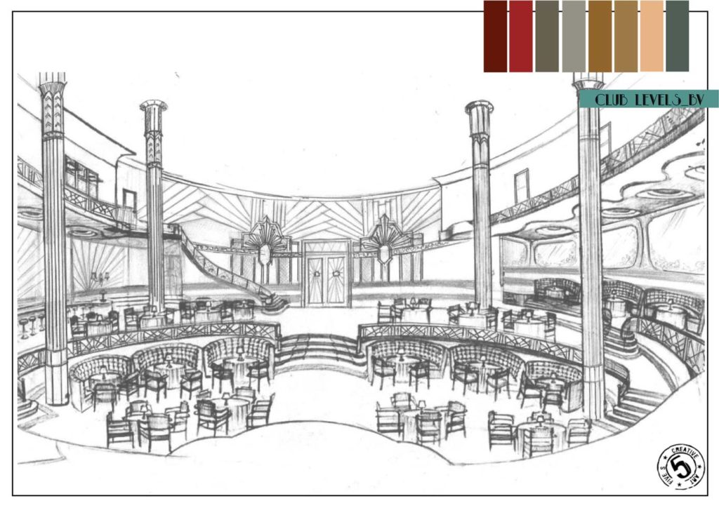 A sketch of the interior of the Bombay Velvet Club along with the colour palette. Photo Credits: Sonal Sawant