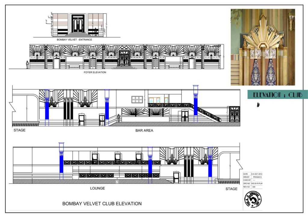 An elevation chart of the Bombay Velvet Club. Structural details such as elevations are important aspects of Production Design. Photo Credits: Sonal Sawant