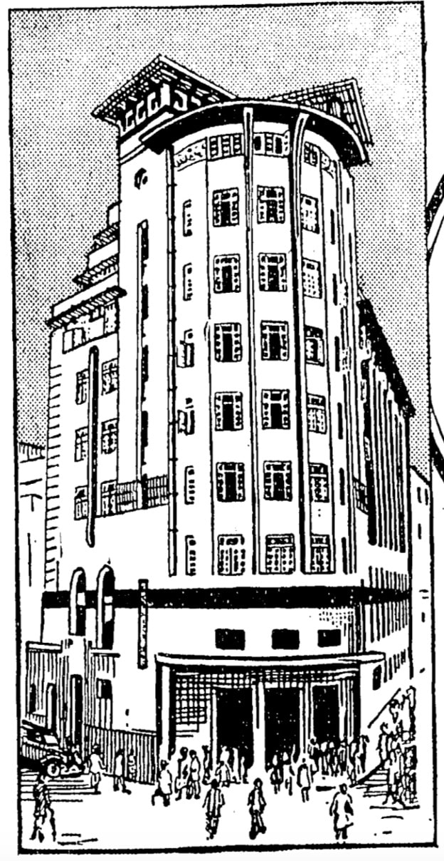 Archival sketch of the Cotton Exchange Building. Source: The Times of India, Aug 31, 1938, pg. 5.