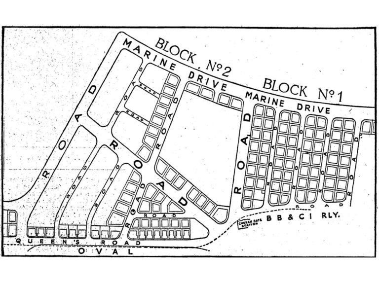 Archival image showing plots of land at Marine Drive (or Queen's Necklace) and Queen's Road (now Maharshi Karve Road) facing the Oval. Source: The Times of India, Feb 15, 1937, pg. 17.
