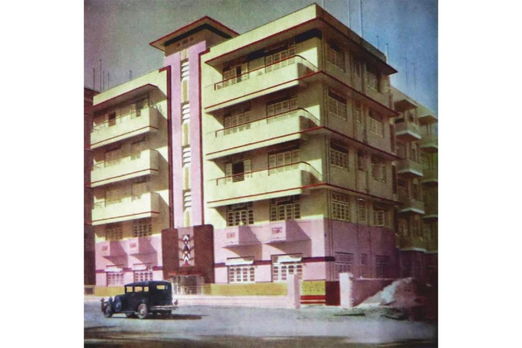 Figure 10: Hand coloured archival image of Rusi Court now Court View Oval, circa 1938, designed by Maneckji Dalal. Source: Author