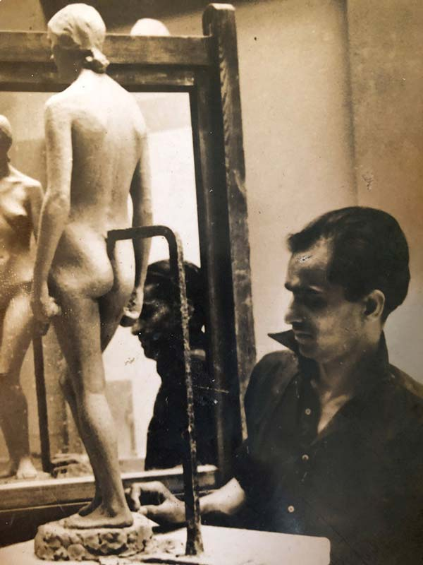 Pansare working on a sculpture at the Royal College of Art, London; Source: Pansare Family Archive