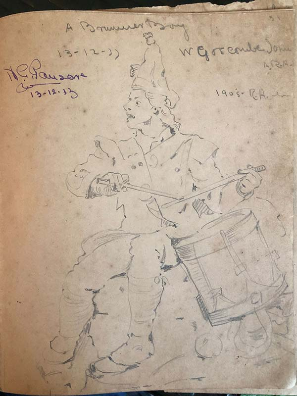 A pencil sketch titled 'A Drummer Boy' dated 13th December, 1933, from Pansare's sketchbook. It is one of the earliest sketches in his book and has his signature at the top left corner; Source: Pansare Family Archive