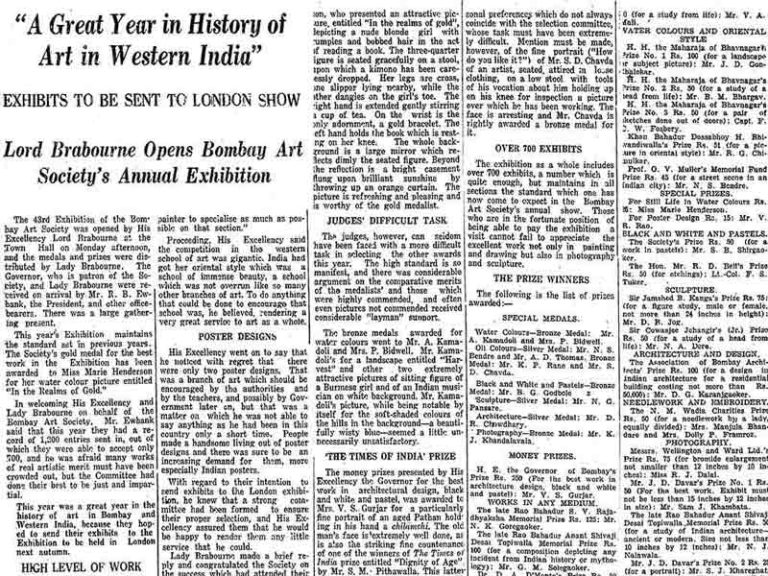 Article published in 'The Times of India' from 1934, showing numerous accolades won by Pansare.