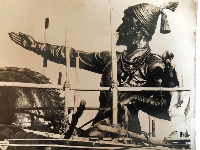 To appreciate the scale of the Chattrapati Shivaji Maharaj equestrian statue at Shivaji Park, Dadar (W) observe N G Pansare standing on the scaffolding; Source: Pansare Family Archive