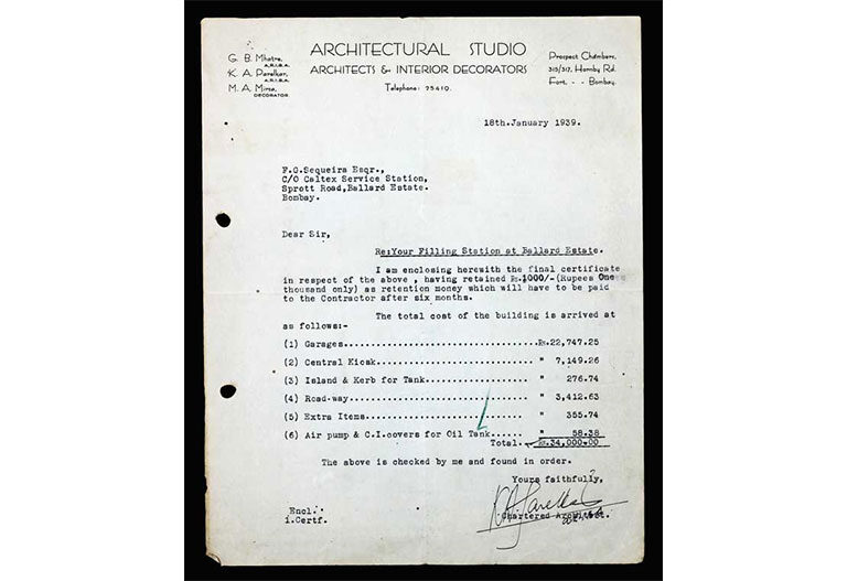 Original payment certificate issued by Architectural Studio, detailing a total construction cost of INR 34,000; Source: Karfule Archives