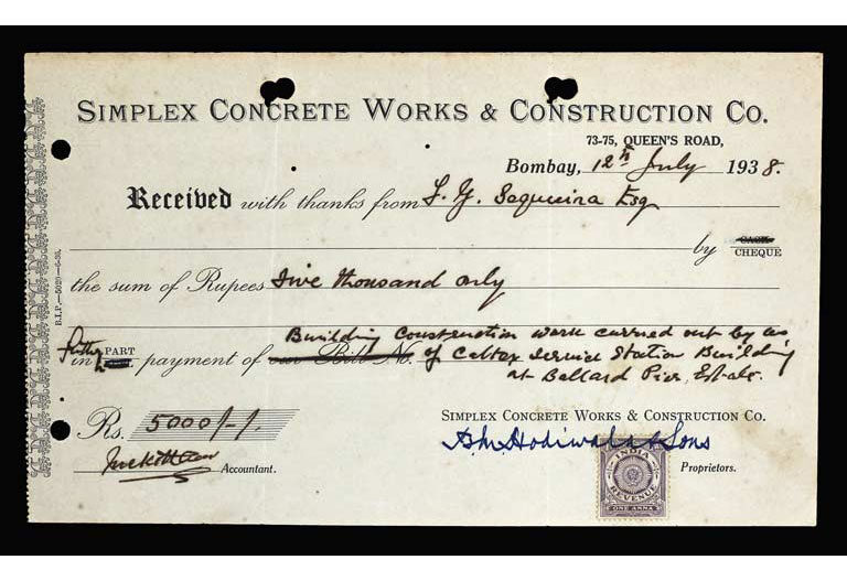Original receipt from Simplex Concrete Works & Construction, detailing a fee of INR 5000; Source: Karfule Archives