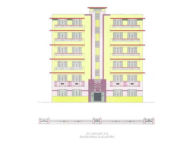 Court View, Source: Deco on the Oval – A Portfolio of facades and Details, Sir J.J. College of Architecture (2015)