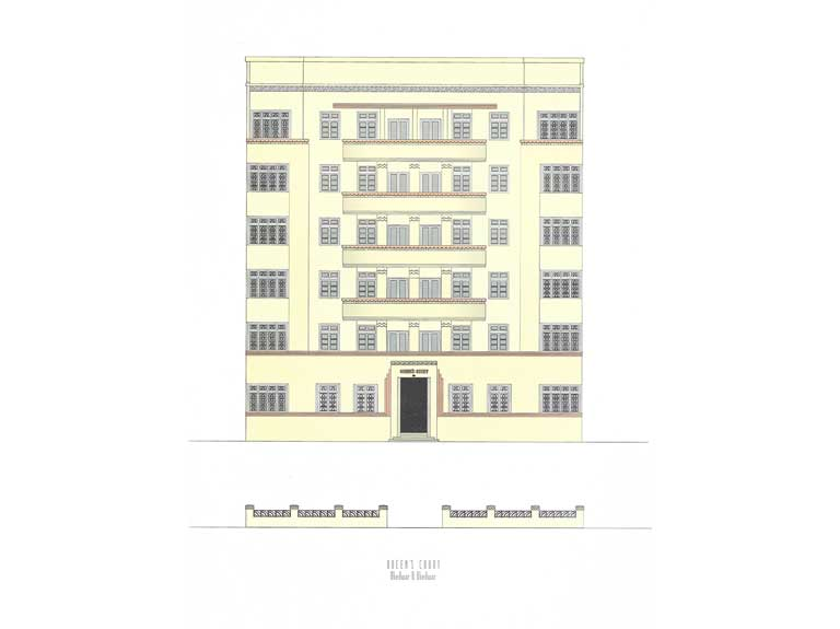 Queens Court, Source: Deco on the Oval – A Portfolio of facades and Details, Sir J.J. College of Architecture (2015)