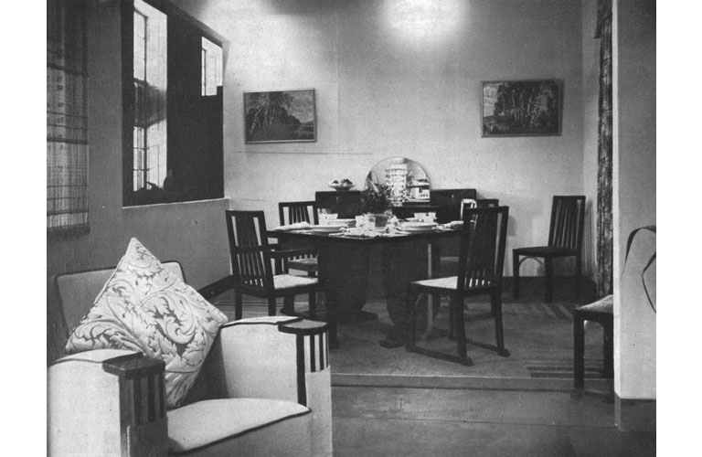 Dining Room Exhibit (Stand 14) furnished by The Army & Navy Stores Ltd. Source: Journal of the Indian Institute of Architects, January 1938