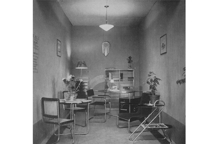 Library (Stand 17) with tubular steel furniture by Moderna. Source: Journal of the Indian Institute of Architects, January 1938
