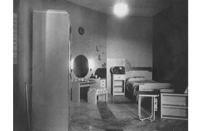 The model Bedroom (Stand 7) furnished with Steel Furniture by Allwyn & Co. and a Philco Radio by Automobile Co., Ltd. Source: Journal of the Indian Institute of Architects, January 1938